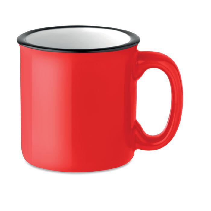 Кружка керамическая в винтажном стиле 240 мл.,красная