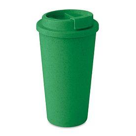 Эко Термостакан с крышкой из бамбука, зеленая