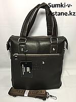 Вместительная деловая мужская сумка вертикального типа.А4.Высота 30 см, ширина 27 см, глубина 8 см., фото 1