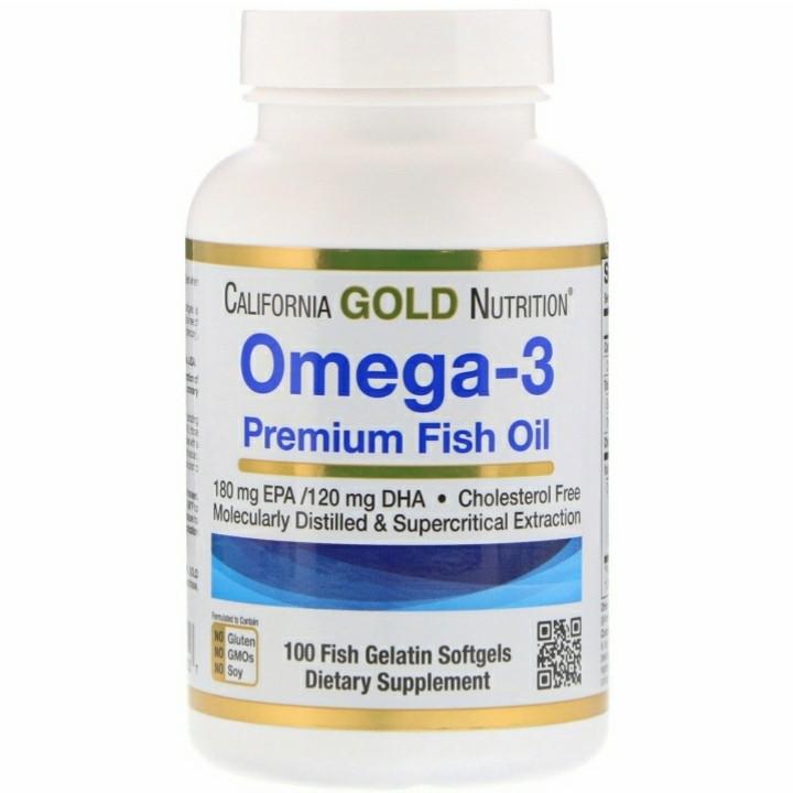 Омега-3, рыбий жир премиального качества, California Gold Nutrition, 100 капсул