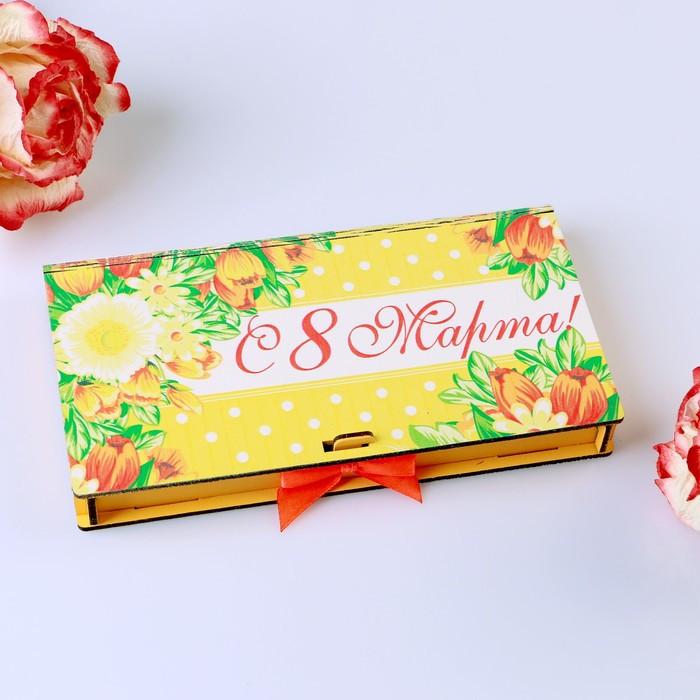 """Деревянный конверт (купюрница) """"С 8 Марта!"""" цветы, розовый бант"""