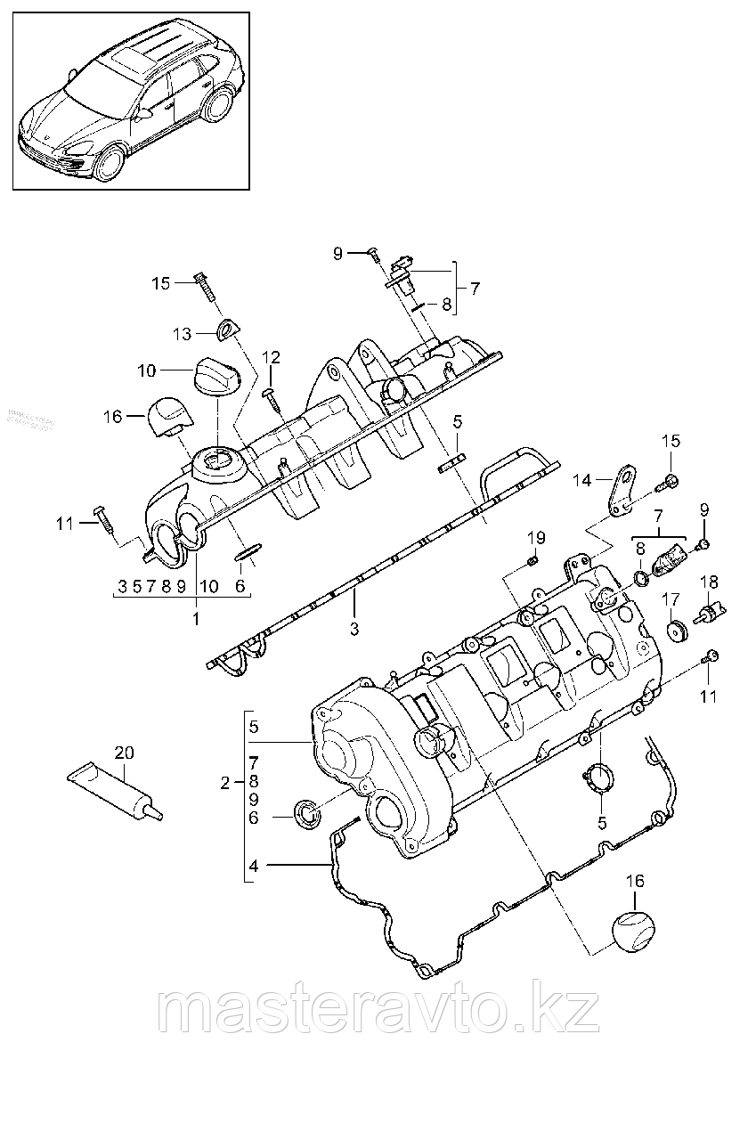 Прокладка клапанной крышки гбц Porsche Cayenne 957 4,8  07-09  Правая / Левая