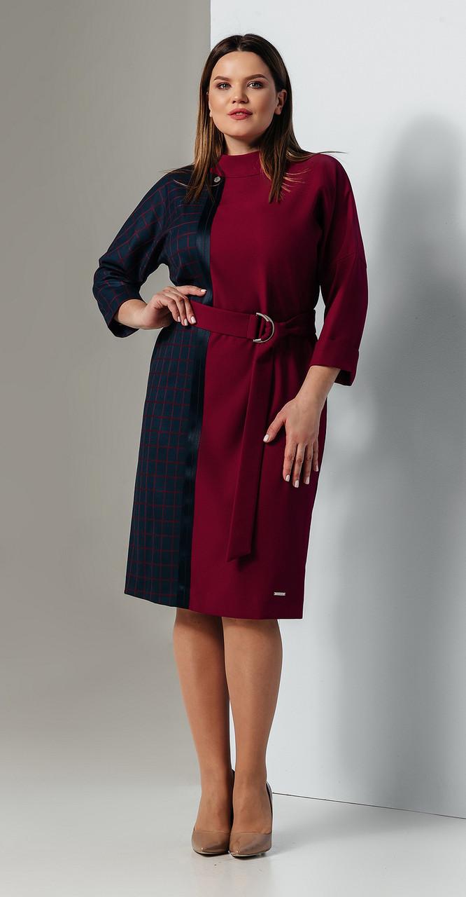 Платье Olegran-748, синий+красный, 50