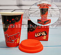 Кружка керамическая с силиконовой крышкой в подарочной упаковке Love you (QF-487)