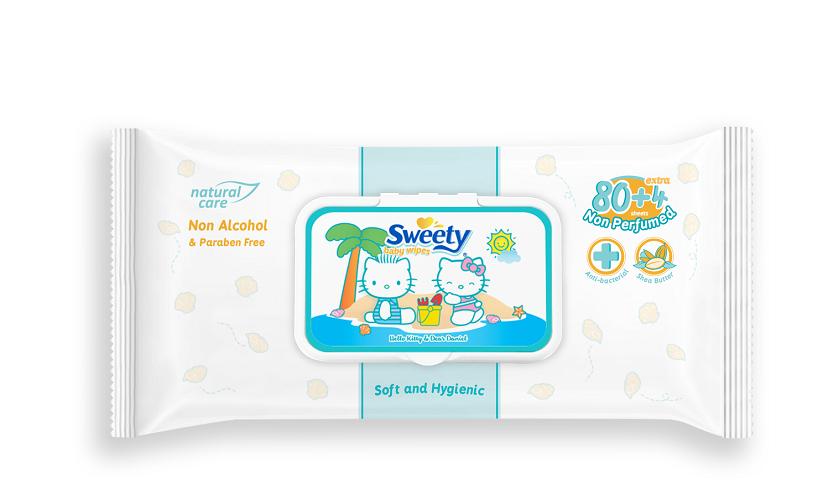 Детские влажные салфетки SWEETY (пласт.крышка) 74 шт