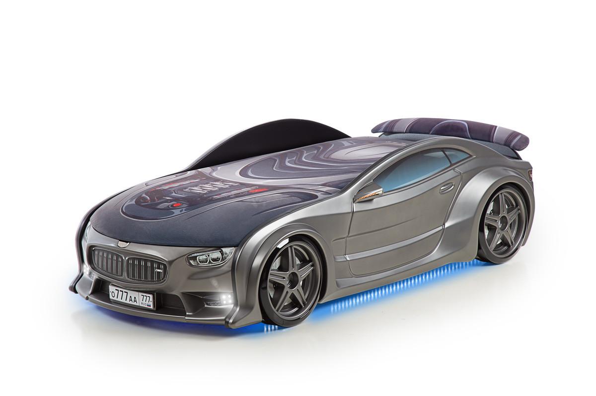 """Кровать-машина объемная (3d) NEO """"BMW"""" графит"""