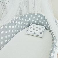 Детское постельное белье Страна ПРЯНИЧНЫЕ ЗВЕЗДЫ серый 6 предметов