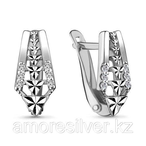 Серьги Aquamarine серебро с родием, фианит 48144А.5