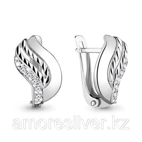 Серьги Aquamarine серебро с родием, фианит 48148А.5