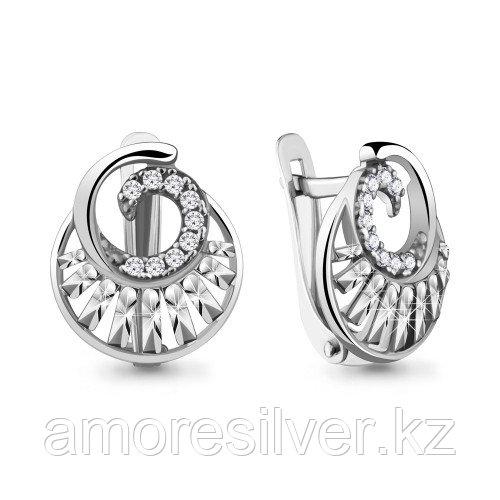 Серьги Aquamarine серебро с родием, фианит 48187А.5