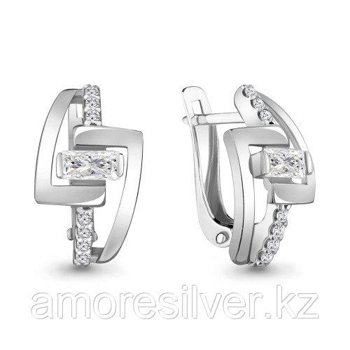 Серьги Aquamarine серебро с родием, фианит 48273А.5