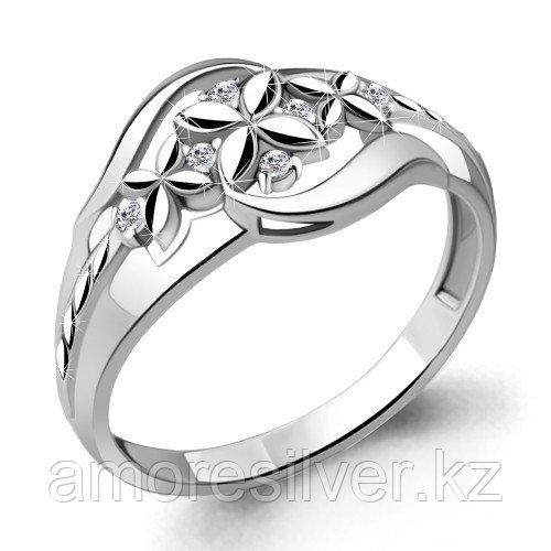 Кольцо Aquamarine серебро с родием, фианит 68639А.5