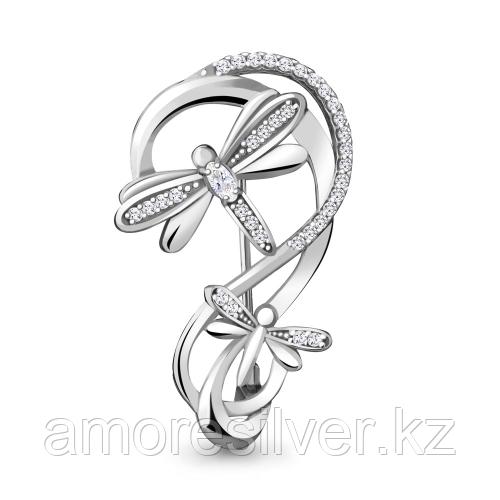 Брошь Aquamarine серебро с родием, фианит 77350А.5