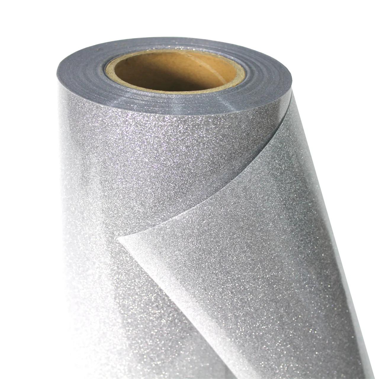 Термо флекс 0,5мх25м серебро с блестками метр