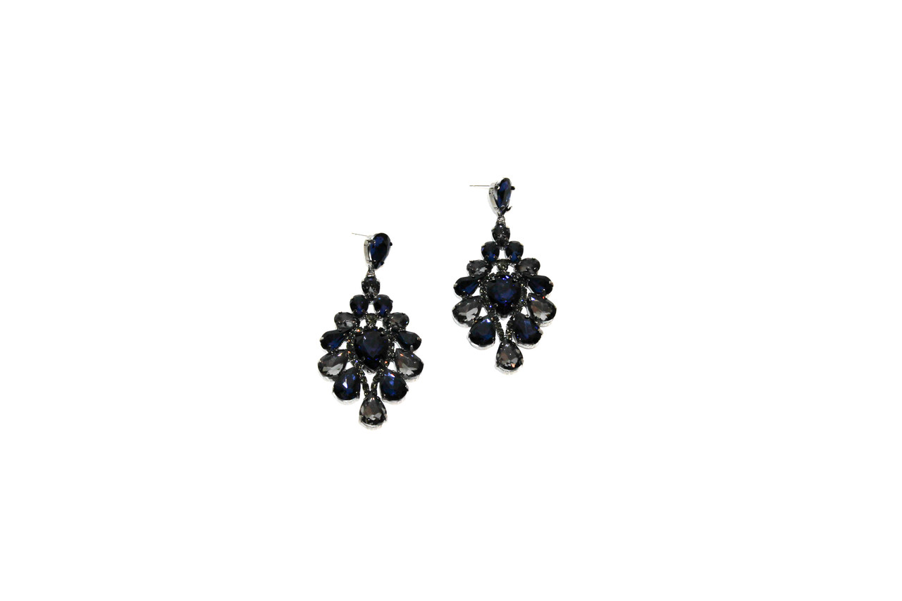 Вечерние серьги Brosh Jewellery (Темно синий Кристалл)
