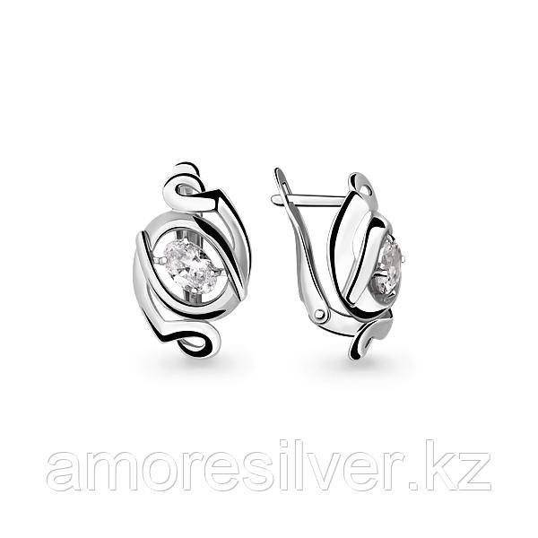 Серьги Aquamarine серебро с родием, фианит, геометрия 46000.5