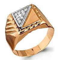 Кольцо Aquamarine серебро с позолотой, фианит, классика 62119А#