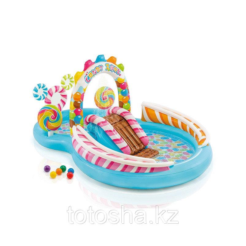 """Детский надувной бассейн с горкой и фонтаном """"Конфетная зона"""" Intex 57149NP"""
