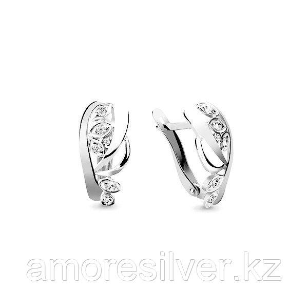 Серебряные серьги с фианитом  Aquamarine 45946А