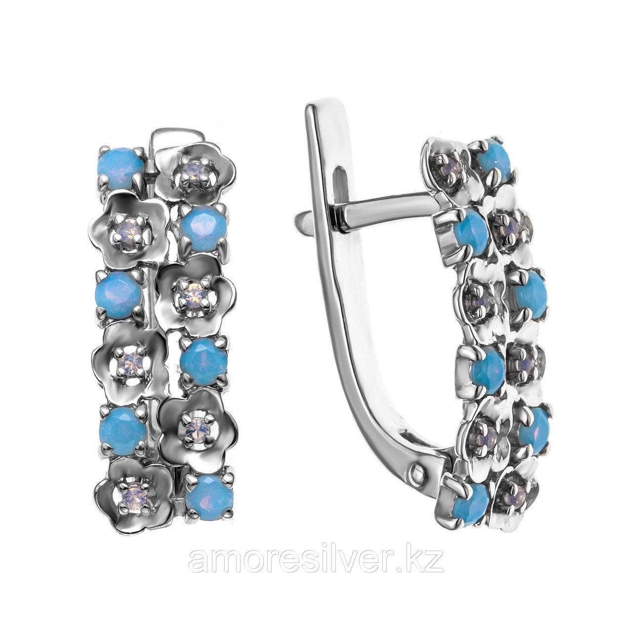 Серьги из серебра с наношпинелью синт.  Teosa 121-1496-nT-R