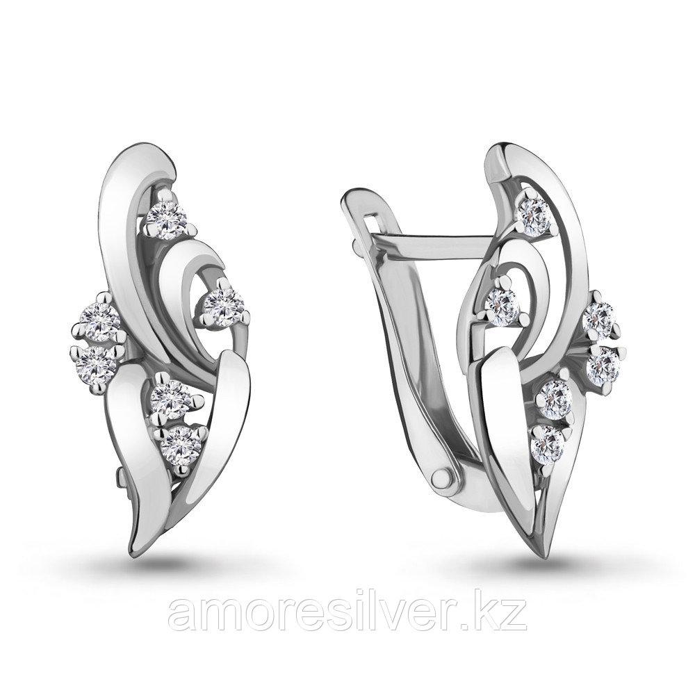 Серебряные серьги с фианитом  Aquamarine 46892А