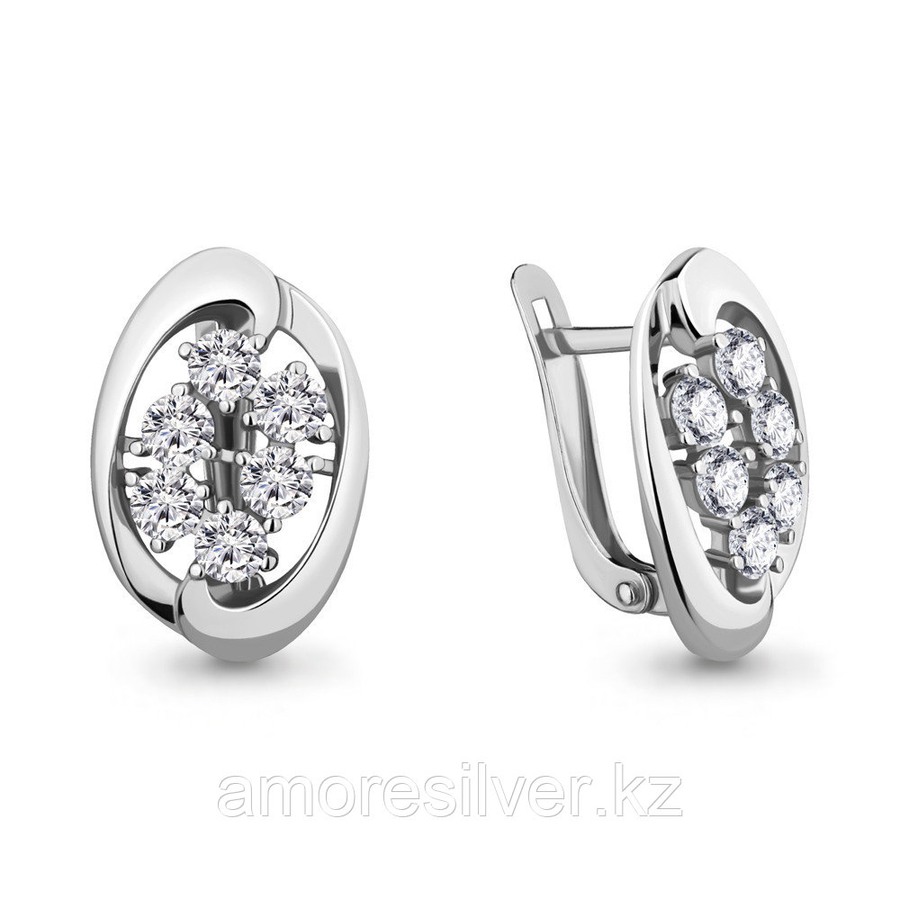 Серебряные серьги с фианитом  Aquamarine 46895А