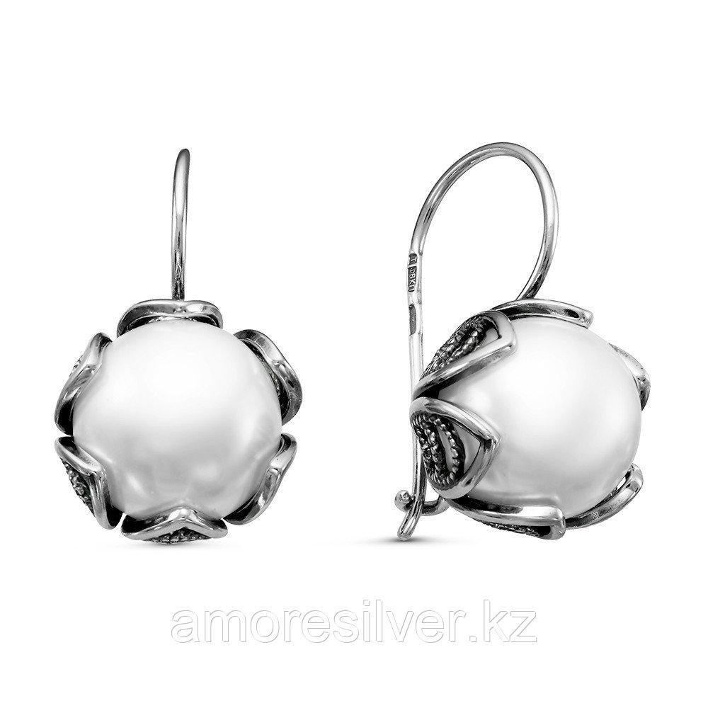 Серьги из серебра с жемчугом имитированным  Красная Пресня 33610760