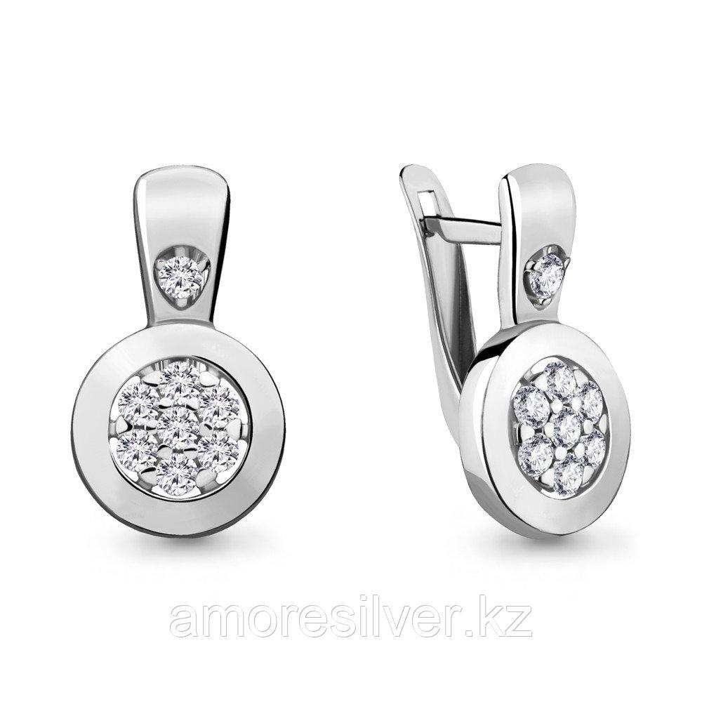 Серьги из серебра с фианитом  Aquamarine 46968А