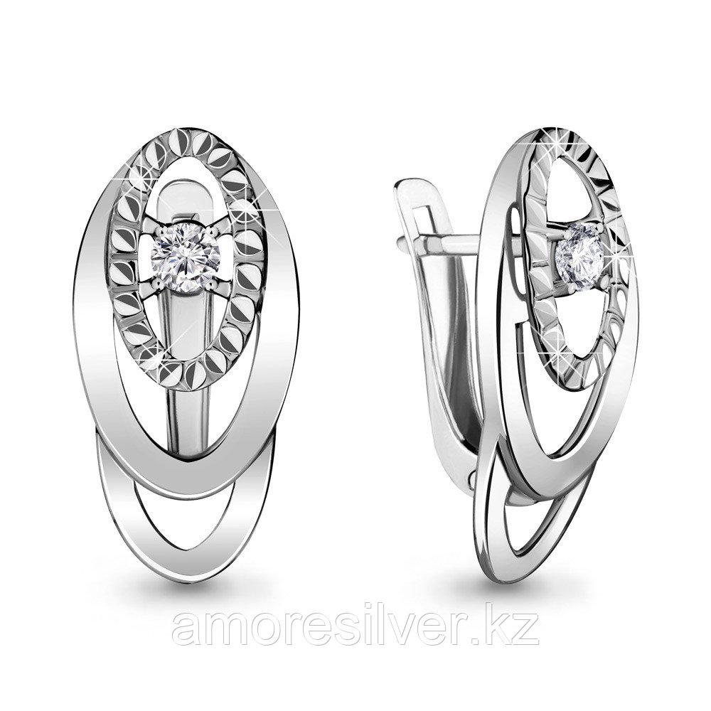 Серебряные серьги с фианитом  Aquamarine 48030А
