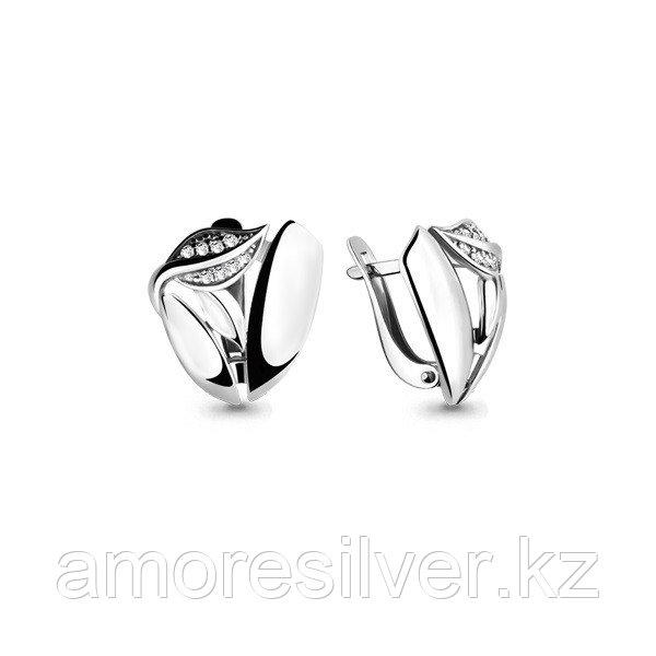 Серебряные серьги с фианитом  Aquamarine 46027А