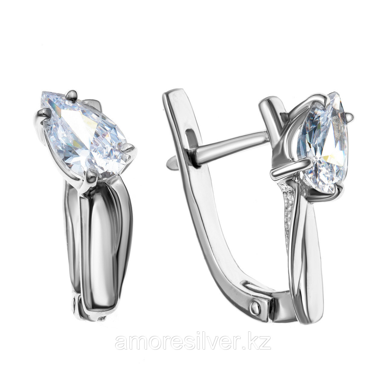Серьги из серебра с фианитом синт. MASKOM  2000-0349