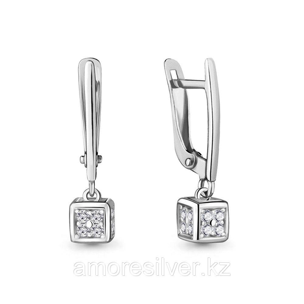 Серьги из серебра с фианитом  Aquamarine 48068А