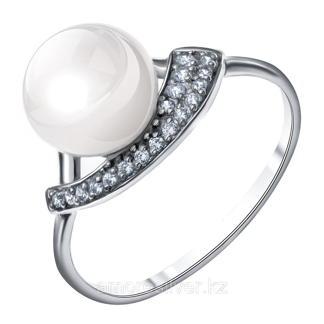 Серебряное кольцо с фианитом и жемчугом культ.  Teosa 190-5-623Р
