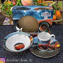 """Набор детской посуды """"Тачки"""". Материал: Керамика. Цвет: Разные цвета."""