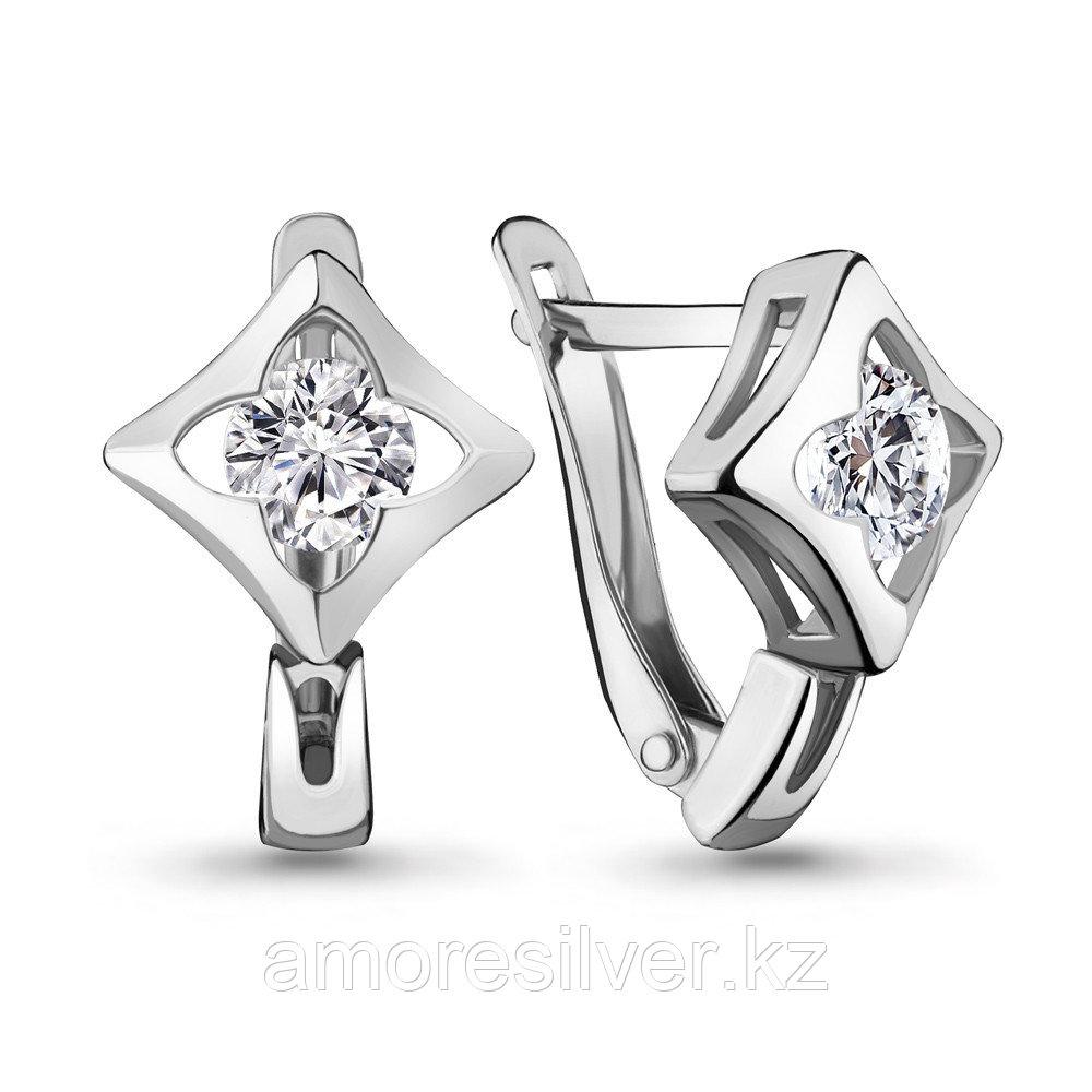 Серьги из серебра с фианитом  Aquamarine 46994