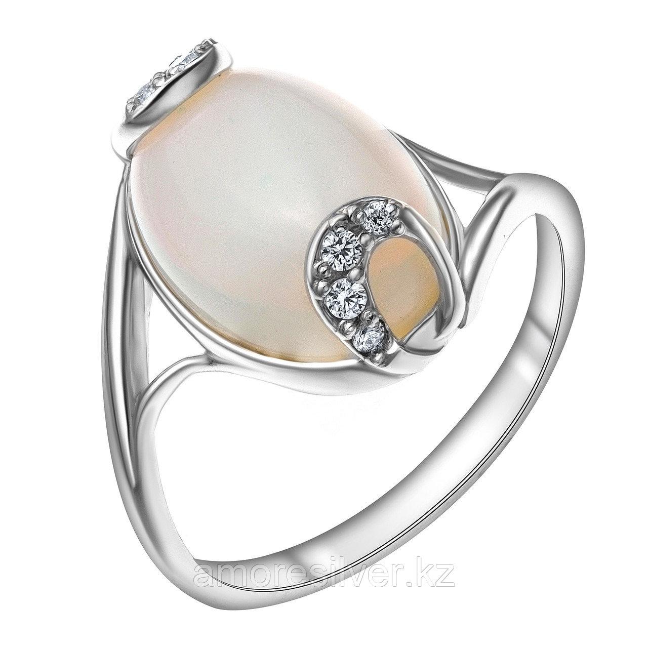 Серебряное кольцо с лунным камнем и фианитом  Приволжский Ювелир 251079-MNS