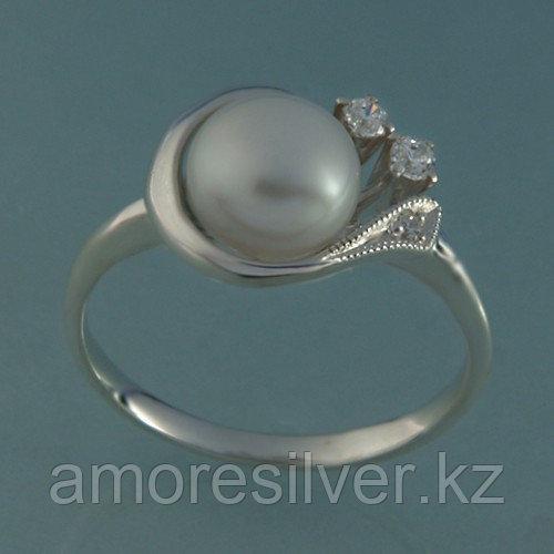 Серебряное кольцо с фианитом и жемчугом культ. Елана размеры 16,5 17  210675