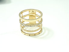 Кольцо с цирконом / жёлтое золото - 17 размер