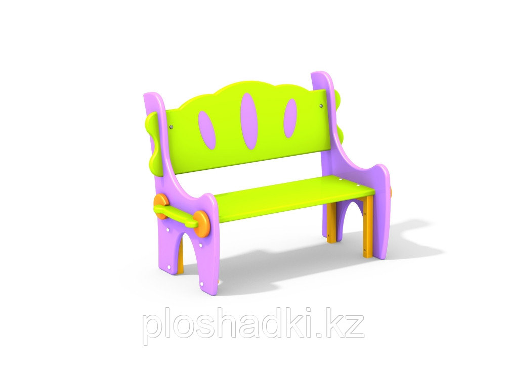 Детская скамья, со спинкой и художественной росписью