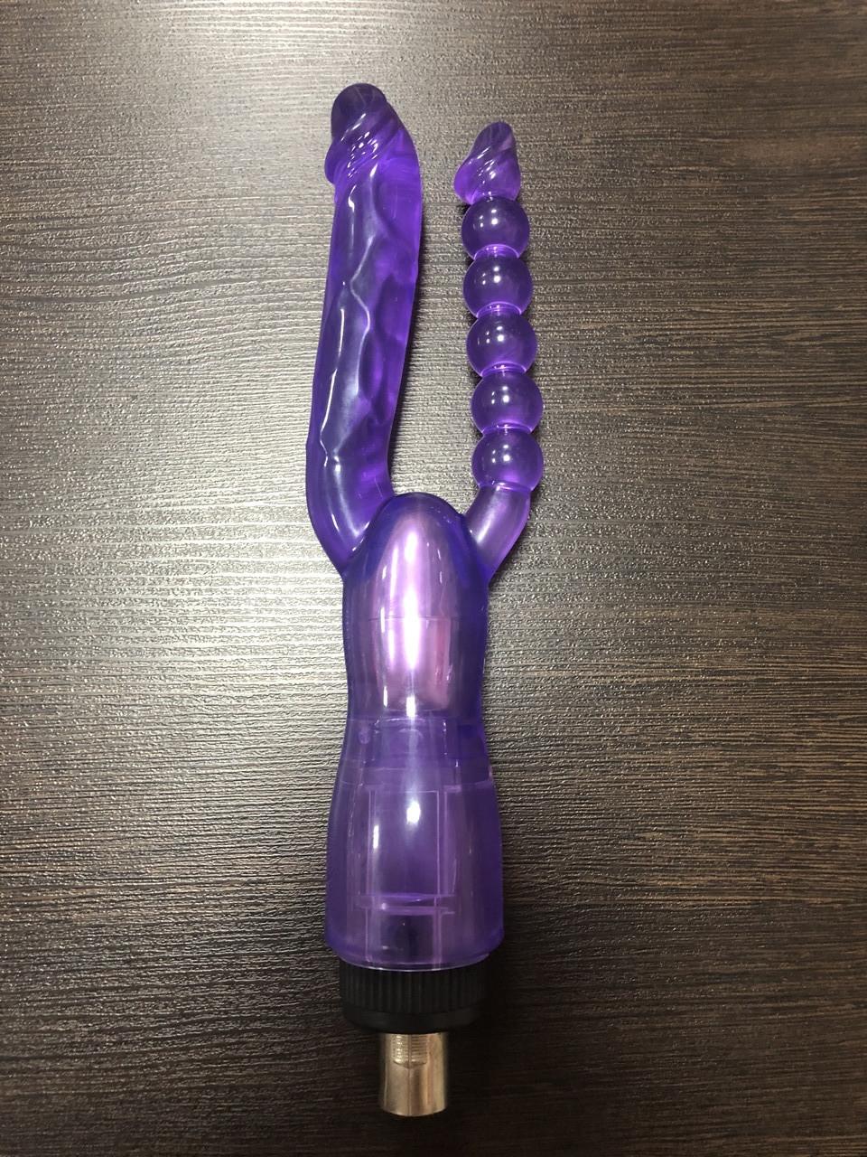 Гелевая анально-вагинальная насадка на секс - машину, фиолетовая