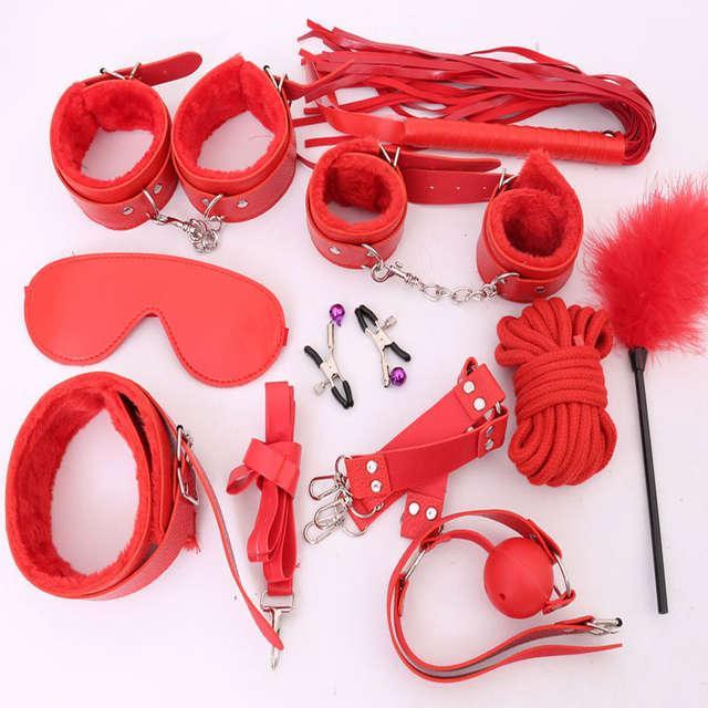 БДСМ набор с мехом, 11 предметов, красный