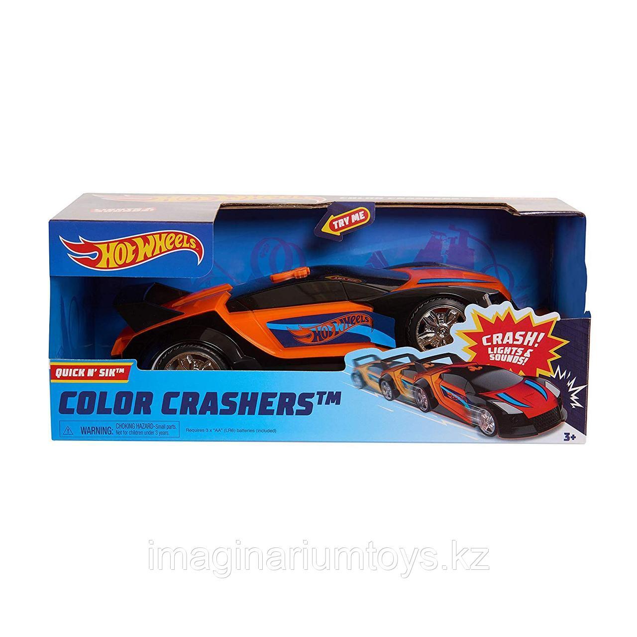 Машинка Хот Вилс меняющая цвет Hot Wheels Race N Crash 20 см красно-оранжевая