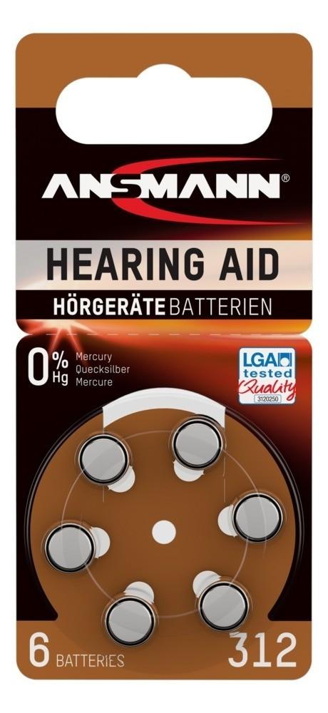 Батарейка для слуховых аппаратов ANSMANN 312  1,4v  PR41