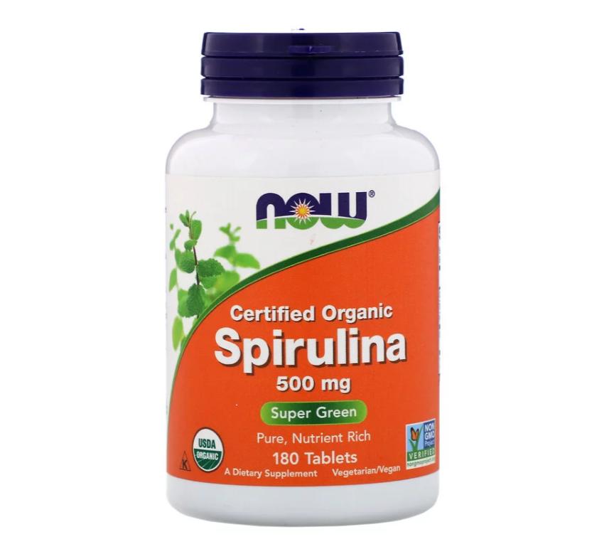 Now Foods, Сертифицированная органическая спирулина, 500 мг, 180 таблеток