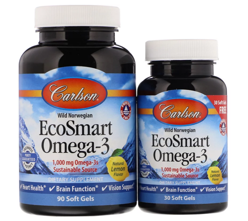 Carlson Labs, EcoSmart Omega-3, натуральный ароматизатор «Лимон», 1000 мг, 90 + 30 желатиновых капсул