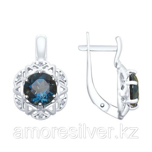 Серьги SOKOLOV серебро с родием, топаз фианит 92022051