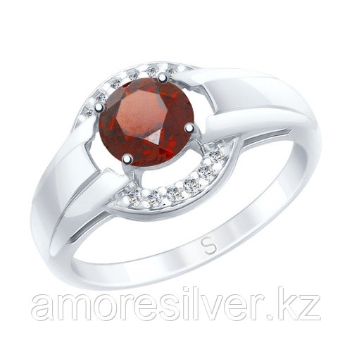 Кольцо SOKOLOV серебро с родием, гранат фианит 92011570 размеры - 16 17