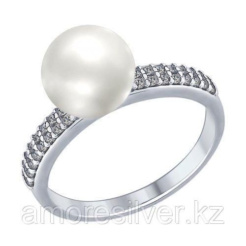 Кольцо SOKOLOV серебро с родием, фианит жемчуг 94012337