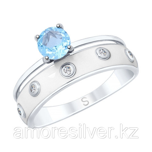 Кольцо SOKOLOV серебро с родием, топаз фианит эмаль 92011681