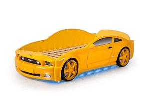 """Кровать-машина """"Мустанг"""" 3D (объемная пластиковая) желтая с матрасом"""